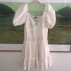 White Peasant dress with Poof sleeve